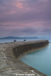 Just after sunrise on the Cobb, Lyme Regis.  Taken with N... by David Stephens 